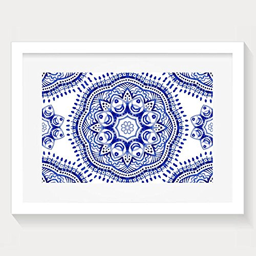 (Yishuo Pattern In Paisley Style Watercolor Ornamental Wallpaper Illustration Classic Bedroom Decor White Painting Artwork Print)