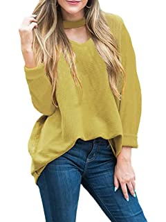 Lovaru Womens Knit Choker Neck Tops Fall Batwing Sleeve Ribbed Loose Pullover  Sweater Blouse e15ad69e1