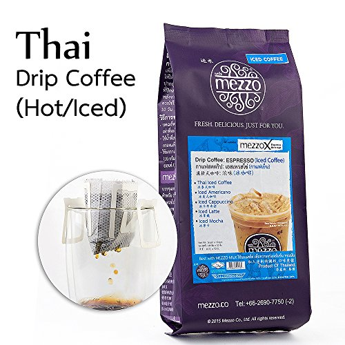 MezzoX Hot Iced Coffee World's Easiest Fresh Drip Black Coffee 16gm x 10 Cups. No Special Equipment, Ingredients Needed. Incl. Drip Bags. Enjoy Great Tasting Coffee Anytime Anywhere. Thailand Import.