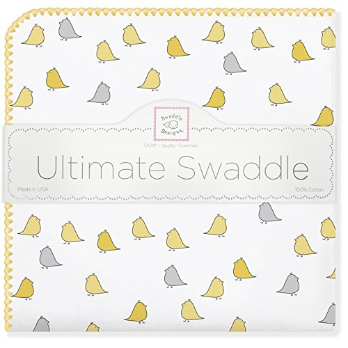 SwaddleDesigns Ultimate Swaddle, X-Large Receiving Blanket, Made in USA Premium Cotton Flannel, Yellow Jewel Tone Little Chickies (Moms Choice Award Winner)