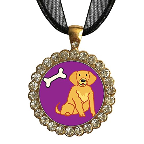 - GiftJewelryShop Gold-Plated Golden Retriever Dog White Crystal Charm Pendant Necklace
