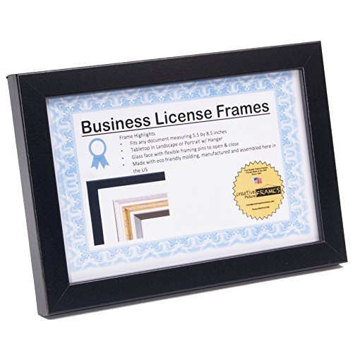 CreativePF [5.5x8.5bk] Black Business License Certificate Frames for Professionals Holds 5.5 by 8.5-inch Self Standing Easel Back with Hanger (Easel Frames)
