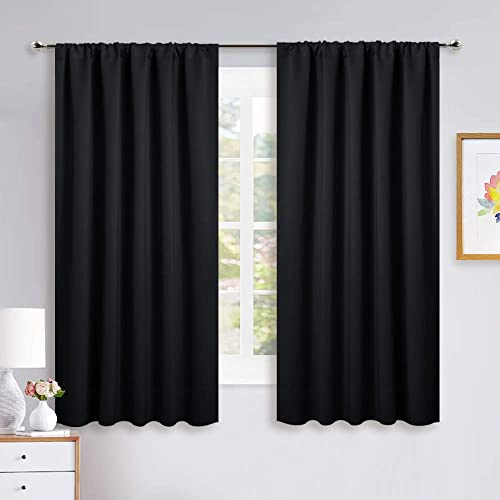 NICETOWN Black Out Window Curtains – Solid Home Decor Thermal Insulated Blackout Drapes Draperies for Bedroom, Privacy Assured Window Treatment 2 Panels, 52 inches Wide by 63 inches Long