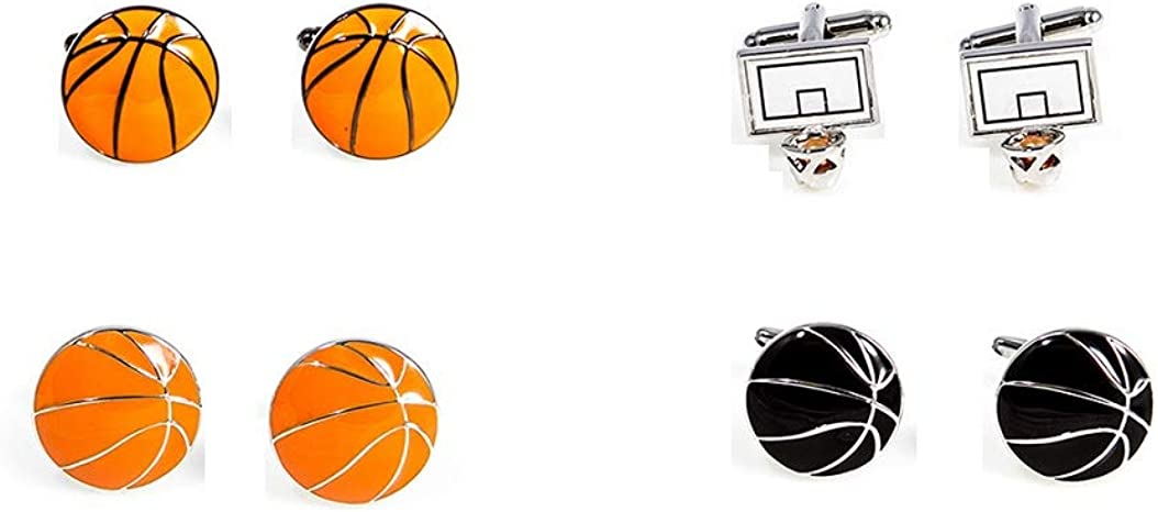 MRCUFF Basketball Hoop and Basketballs 4 Pairs Cufflinks in a Presentation Gift Box & Polishing Cloth