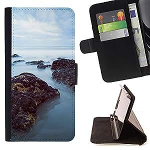 Momo Phone Case / Flip Funda de Cuero Case Cover - Mar Misty Rocks;;;;;;;; - Samsung Galaxy Note 3 III