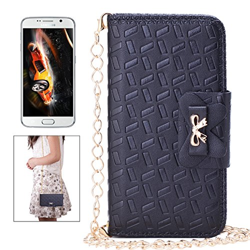 Galaxy S7 Edge, Aroko Wallet Leather Wallet Magnetic Handbag Case with and Cross-body Chain for Samsung Galaxy S7 Edge (S7edge, Black)
