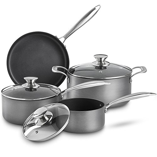 VonShef Premium Hard Anodized Aluminum Nonstick Cookware Pots and Pans Set, 2 Saucepans With Lids, 1 Dutch Oven Casserole Pot with Lid and 1 Frying Pan, 7-Piece Pack, Gray ()
