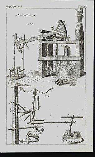 Early Piston Steam Engine Internal Mechanisms 1763 antique engraved print