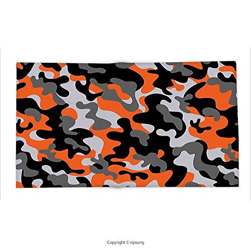 Custom printed Throw Blanket with Camo by Vibrant Artistic Camouflage Lattice Like Military Service Combat Theme Modern Orange Grey Black Super soft and Cozy Fleece Blanket