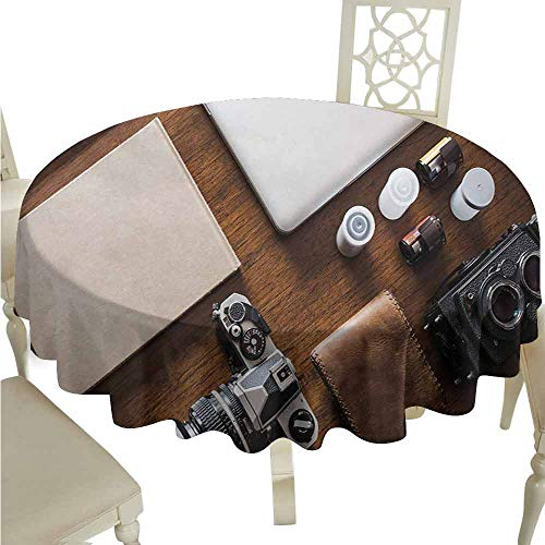 duommhome Indie Oil-Proof Tablecloth Professional Set Up for Photographers Designers Work Place Equipment on Table Easy Care D39 Brown Beige Black