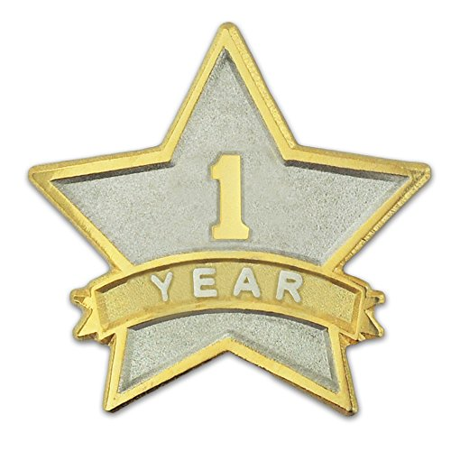 PinMart's 1 Year Service Award Star Corporate Recognition Dual Plated Lapel Pin by PinMart