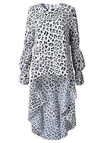 Womens Blouses and Tops Leopard Print Long Sleeve Asymmetric High Low Club Shirt Dress XL White
