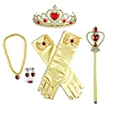 8 Pcs Girls Belle Princess Crystal Dress up with Gloves Tiara Crown Wand Ring Earring and Necklaces (Yellow)