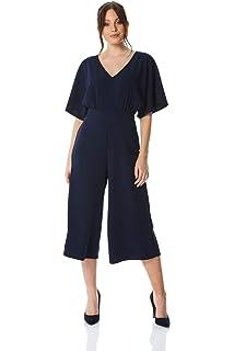 0ce08223c02 Roman Originals Women Wrap Culotte Jumpsuit - Ladies Casual Everyday  Daywear Short Sleeve Wide Cropped Leg