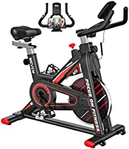 Exercise Bike [2021 Upgraded], MEVEM Stationary Bike, Indoor Cycling Bike with LCD Monitor and Heart Rate Sens