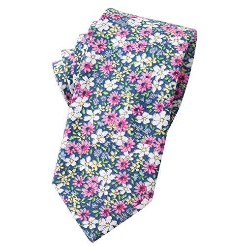 Mantieqingway Men's Cotton Printed Floral Neck Tie (MYF006-037)