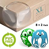 Corner Guards - Extra Large for Safety | X5 More Adhesive Power Pre-Applied | 200% Softer Material | 8+2 Pack | PVC Free Baby Friendly | Aesthetically Clear + Child Door Finger Pinch Protectors