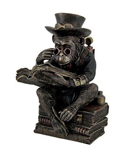 - Veronese Resin Statues Hand Painted Steampunk Scholar Chimpanzee Fantasy Statue 5 X 7.5 X 4.5 Inches Brown
