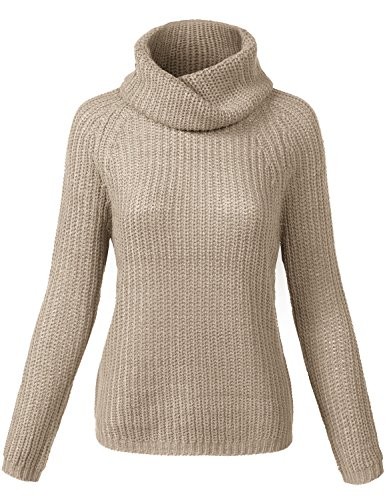 Lightweight Batwing Turtle Neck Knit Sweaters, 006 Khaki, L