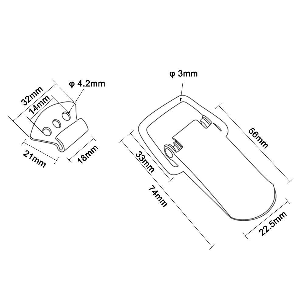 90mm Overall Length IMAGINE 4 Set Edelstahl Spannverschluss mit Feder Kistenverschluss Kappenschloss Haspen Schnapper