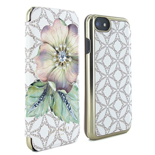 Official TED BAKER® SS17 Fashion Branded Mirror Folio Case for iPhone 7, Protective High Quality Wallet iPhone 7 Cover for Professional Women - MAVIS - Gem Gardens Cream