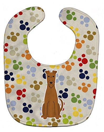 Caroline's Treasures Pawprints Baby Bib, Irish Terrier, Large