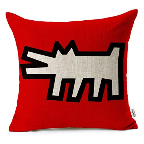 Kingla Home Square Cotton Linen Decorative Throw Pillow Covers 18 X 18 Inch Keith Haring's Graffiti-art Printing Pillowcase Zippered Couch Cushion - Pillowcase Art