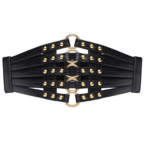 Syuer Womens Faux Leather 5 Metal Rings Wide Waist Belt Elastic Waist Belt (X-Large (37