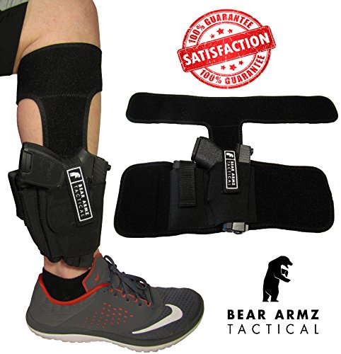 Ankle Holster by Bear Armz | Universal Neoprene Concealed Carry Leg Holster | Magazine Pouch & EXTRA Strap | Fits: Glock 26, 27, 42, 43, Smith & Wesson Shield, Bodyguard 380, Ruger LCP, LC9, Sig Sauer - Sig Pocket Knife