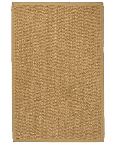 NaturalAreaRugs Four Seasons Seagrass Rug, Handmade, 100% Seagrass, Non-Slip Latex Back, Durable, Stain Resistant, Eco-Friendly, (6'x9′) Sage/Khaki Border For Sale