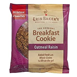 Erin Baker's Breakfast Cookies, Oatmeal Raisin, 3-Ounce Individually Wrapped Cookies,12 Count
