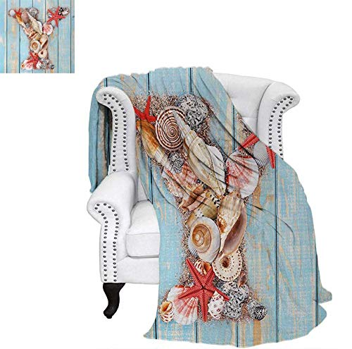 (Oversized Travel Throw Cover Blanket Aquatic Typography with Y Blue Vertical Planks Starfishes Scallops Super Soft Lightweight Blanket 62