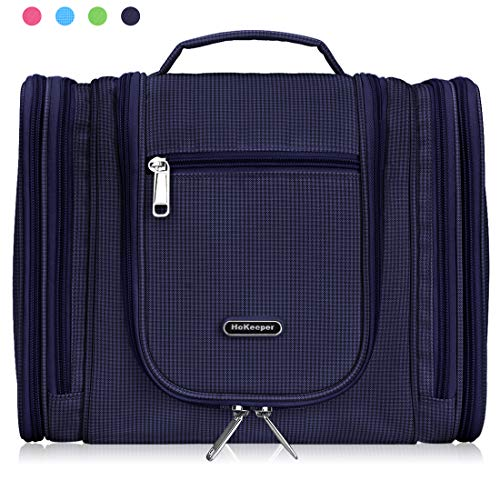 Heavy Duty Waterproof Hanging Toiletry Bag - Travel Cosmetic Makeup Bag for Women & Shaving Kit Organizer Bag for Men (Dark Blue - 259)