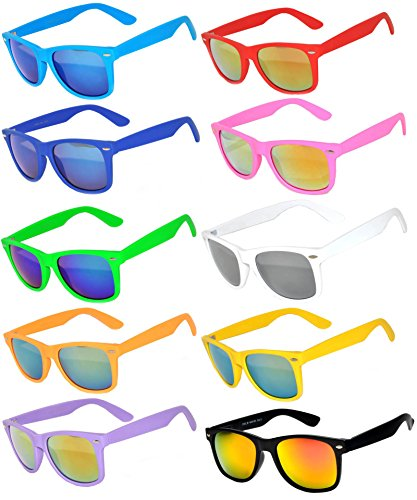 Retro Vintage Mirrored Lens Sunglasses 10 Pack - Red Orange Green Blue - Mirrored Wayfarer Sunglasses Orange