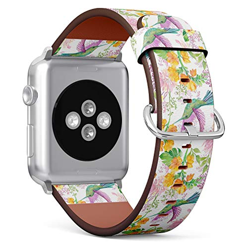 Compatible with Apple Watch 38mm & 40mm Leather Watch Wrist Band Strap Bracelet with Stainless Steel Clasp and Adapters (Floral Bird Hummingbird)
