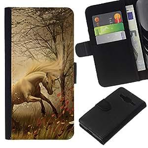 KingStore / Leather Etui en cuir / Samsung Galaxy Core Prime / Horse Mane Hierba Niebla Niebla Stallion Mustang