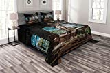 Lunarable Industrial Bedspread Set Queen Size, Industrial Interior with Tall Old Windows Ruins Hallway Station Shadow, Decorative Quilted 3 Piece Coverlet Set with 2 Pillow Shams, Brown Blue Green