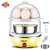 Egg Cooker Egg Poacher Double Layer Egg Cooker Microwave Egg Boiler 14 Capacity for Healthy Nutritious Breakfast Auto Shut off-Yellow