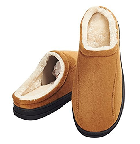 Festooning Mens Warm and Soft Slip On Microsuede Slippers with Anti Slip Rubber Sole and Lightweight Memory Foam Indoor/Outdoor Khaki US13