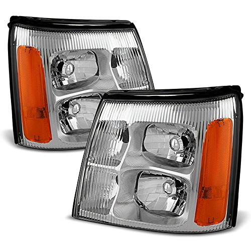 ACANII - For 2002 Cadillac Escalade Base/Ext Replacement Headlights Headlamps Head Lights Lamp Driver + Passenger Side