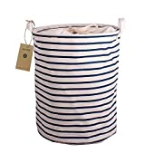 AOBOR Printed Ramie Cotton Fabric Folding Laundry Storage Basket Toy Laundry Hamper with Handle (Navy White Stripe)