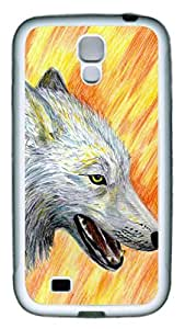 Brian114 Samsung Galaxy S4 Case, S4 Case - Slim Ultra Fit Soft Rubber Case for Samsung Galaxy S4 I9500 Autumn Wolf Popular Design White Back Cover for Samsung Galaxy S4 I9500