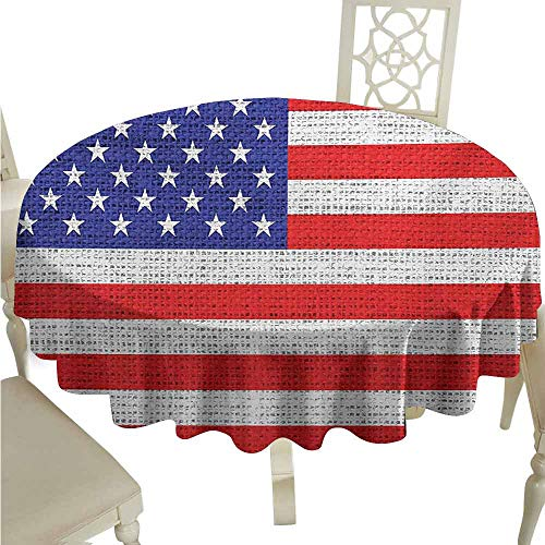 - duommhome USA Waterproof Tablecloth Fourth of July Independence Day Burlap Looking Retro Vintage Country Pastel Color Easy Care D67 Blue Red White