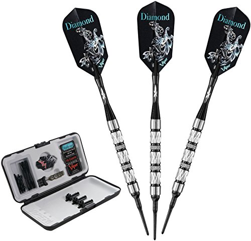 Viper Diamond 90% Tungsten Soft Tip Darts with Storage/Travel Case, Black Rings, 18 Grams
