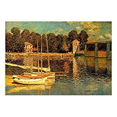 The Bridge of Argenteuil by Claude Monet French Impressionism Plein Air Landscape Peel and Stick Large Wall Mural Removable Wallpaper, Premium Product, Marvelous Technique