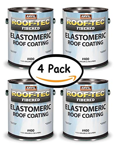 (Anvil 400 Mobile Home & RV Roof Coating, Fibered Acrylic Latex Elastomeric Protective Roof Coating, White, (4)