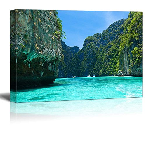 Beautiful Scenery Landscape Cliff and the Clear Sea Phi Phi Leh South of Thailand Wall Decor Wood Framed