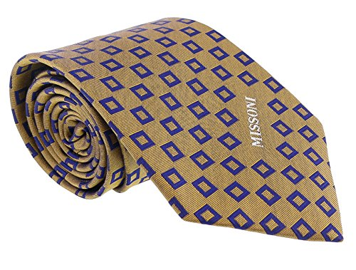 - Missoni Square Gold/Blue Woven 100% Silk Tie for mens