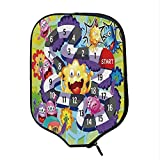 YOLIYANA Board Game Durable Racket Cover,Silly Monsters Creatures Finish Route Numbers Funny Expressions Cheering Aliens Decorative for Sandbeach,One Size