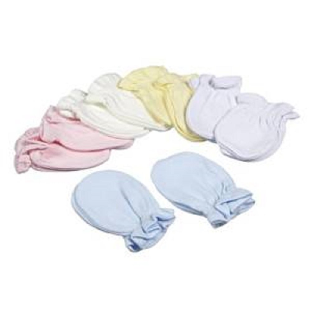 2 Pairs Baby Anti Scratch Mittens Mitts Pink White Blue Lemon 100% Cotton (White) Just Too Cute